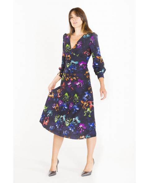 Flared dress with V-neck