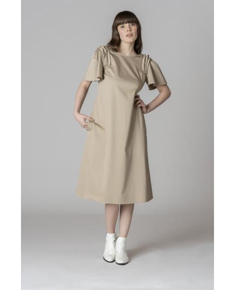 Midi cotton dress with plissé on...