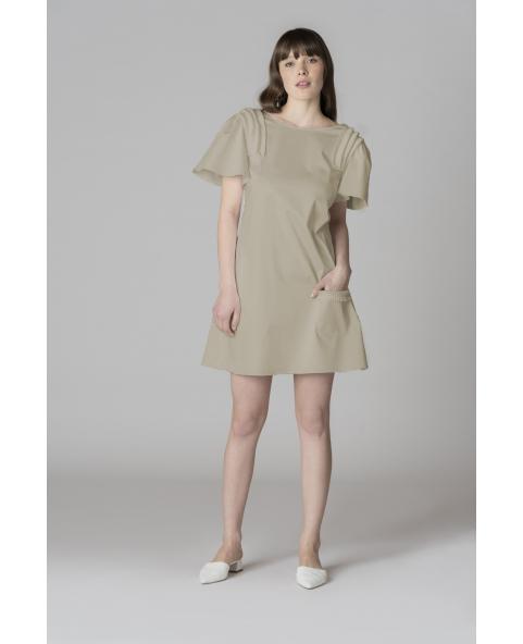 Mini cotton dress with plissé on...