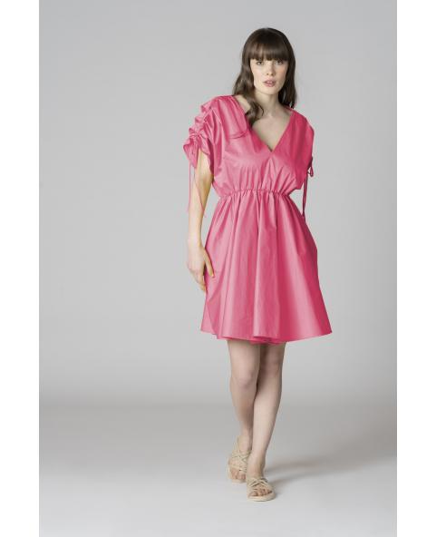 Pleated poplin mini dress with...