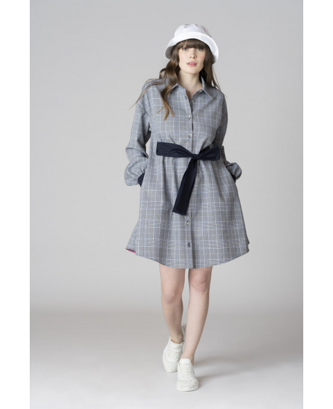 Check fabric chemisier dress with belt