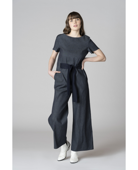 Check fabric jumpsuit with belt