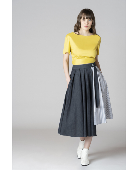 Chambray asymmetrical skirt